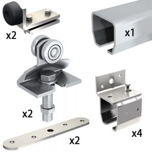 Quantity of items in our SLID'UP 2000 – Sliding door hardware kit with 1 track for 1 door up to 310 lbs, 1-1/2″ thick