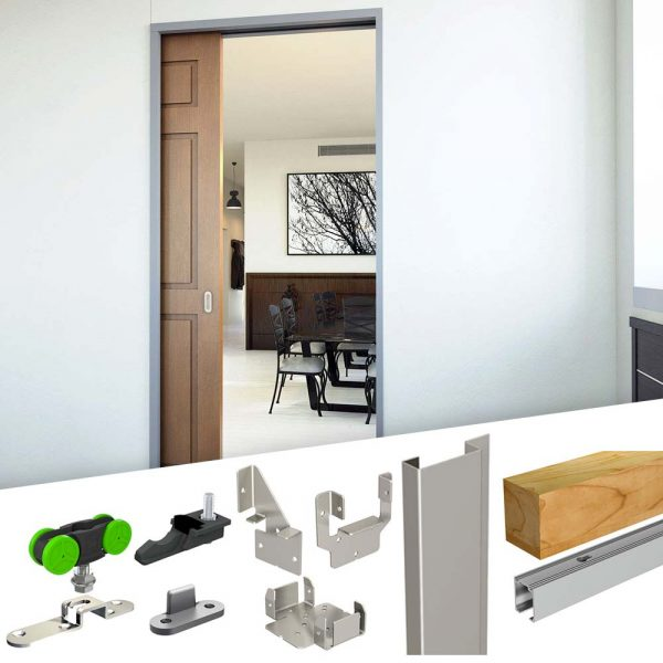 SLID'UP 2200 – Pocket door hardware kit with removable track for 1 door up to 7 ft height and 100 lbs