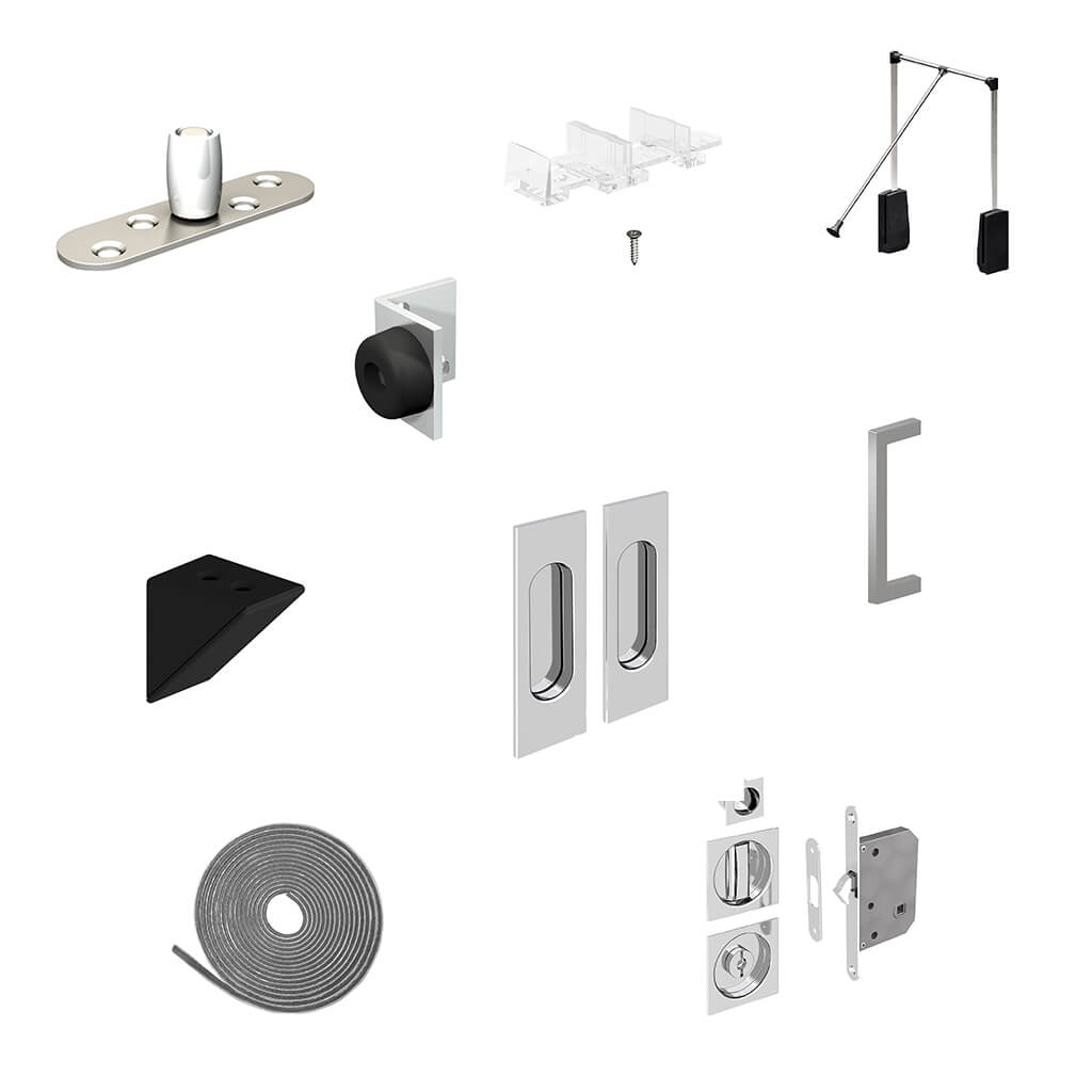 Various accessories: bottom guide, door bumper, handles, brush seals, mortise locks, wardrobe lifts, shelf supports...