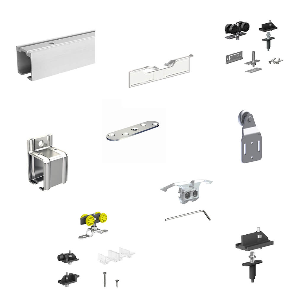 Various spare parts: tracks, stopper, plates, brackets, hangers, extra roller kit...