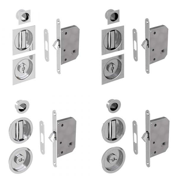 Our different mortise locks, round or square, chrome of satin finition
