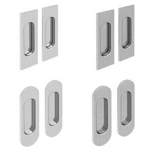 Set of 2 oval or rectangular flush pull handles, chrome of satin finition