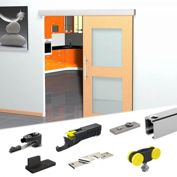 Content of SLID'UP 230 sliding door hardware kit