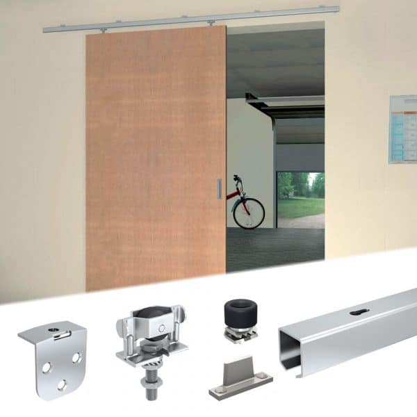 Content of SLID'UP 1200 – Sliding door hardware kit for 1 or 2 exterior door up to 90 lbs