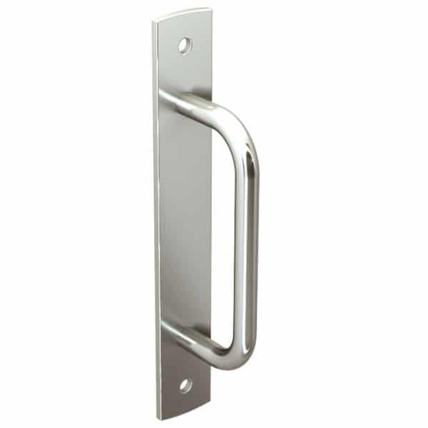 Heavy duty sliding door pull handle – 2 fasteners Galvanized steel with chrome finish