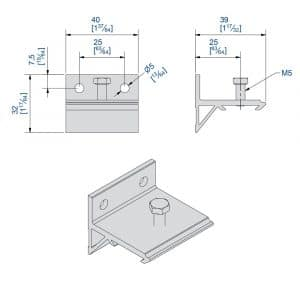 Drawing with dimension of our wall mounting bracket for SLID'UP 1000