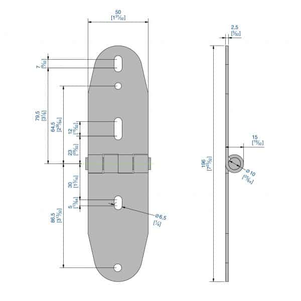 Drawing with dimension of our galvanized Steel Hinge – 3/8″ axle diameter – 4-1/2″ height