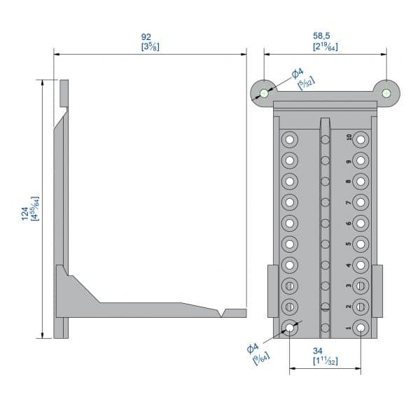 Drawing with dimension of our brackets to mount sliding door track on sloped wall