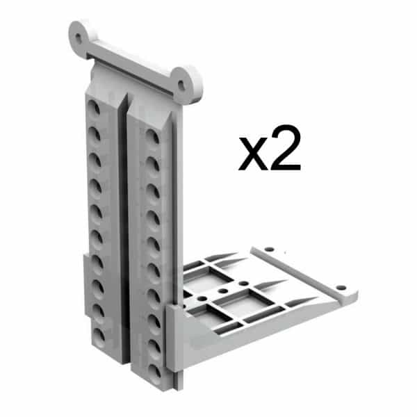 Quantity of brackets to mount sliding door track on sloped wall