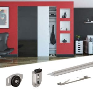 Content of SLID'UP 130 – Sliding closet door hardware kit for 2 bypass doors