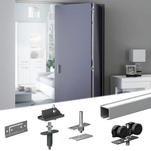 "Our SLID'UP 150 bifold door hardware kit for 2 folding panels - 47"" track-"
