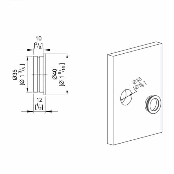 Drawing of our round flush pull handle - Extra thin - Chrome-plated metal