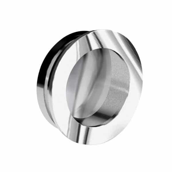 Round flush pull handle - Extra thin - Chrome-plated metal