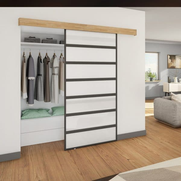 Ambiance image of our sliding closet door hanger for SLID'UP 110, 120