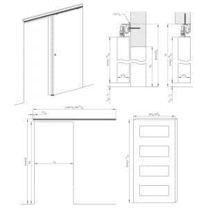 Drawing with dimension of our sliding door rollers kit for SLID'UP 180 for 1 door up to 65 lbs