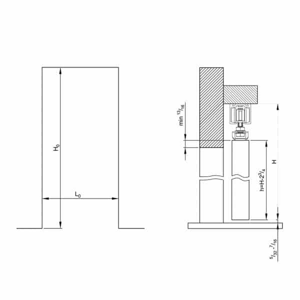 Drawing with dimension of our sliding door rollers kit for SLID'UP 160 for 1 door up to 130 lbs