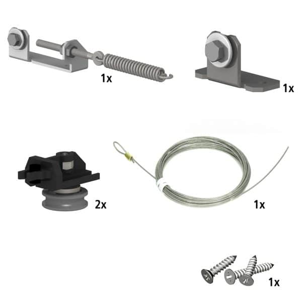 Quantity of items in our SLID'UP 240 – Sliding barn door hardware kit