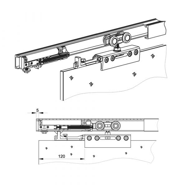 Drawing of our damper with soft close mechanism for SLID'UP 160, 170, 190