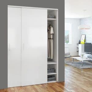 Ambiance image of our reversible sliding closet door hanger for SLID'UP 110, 120