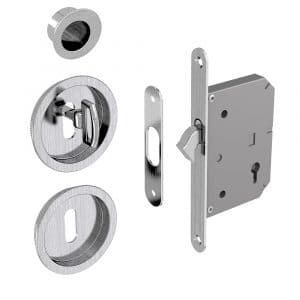 Mortise lock assembly kit – Round finger pull and flush handles with key