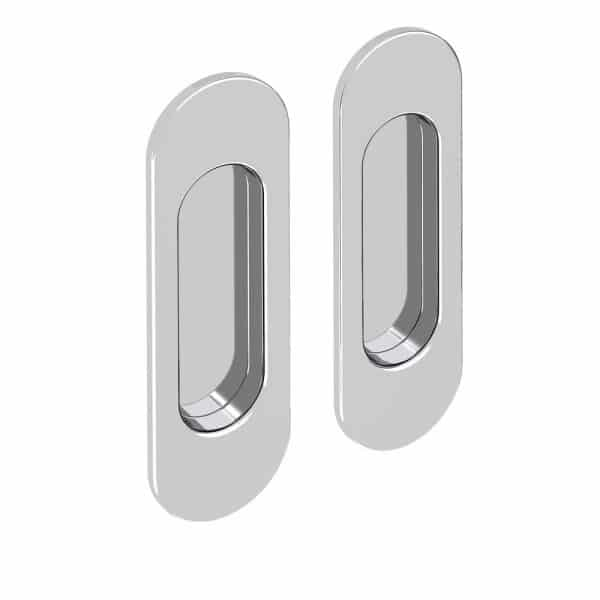 Set of 2 oval flush pull handles, chrome finish