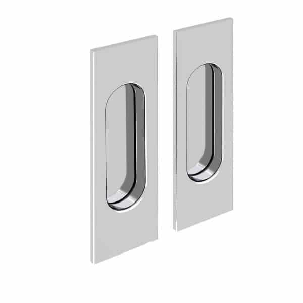 Set of 2 rectangular flush pull handles, chrome finish