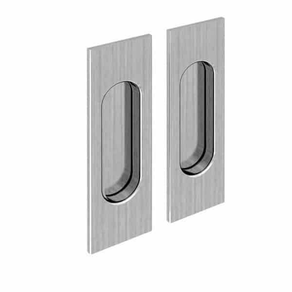 Set of 2 rectangular flush pull handles, satin finish