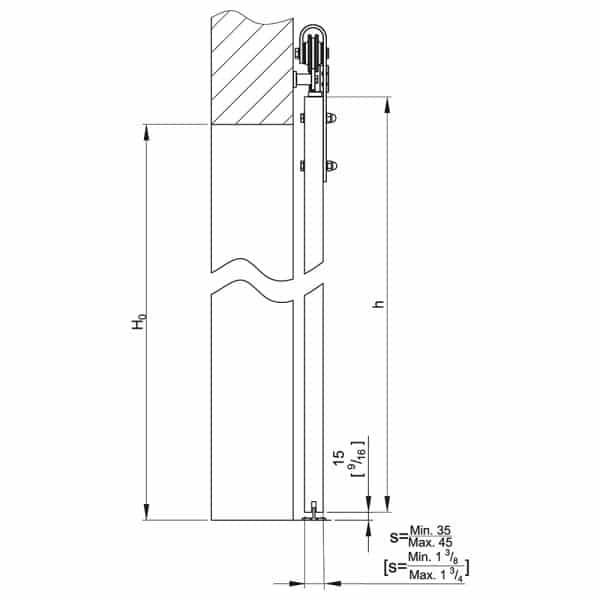 Drawing with dimension of our SLID'UP 240 – Sliding barn door hardware kit