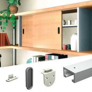 Content of our SLID'UP 1900 - Sliding cabinet door hardware kit