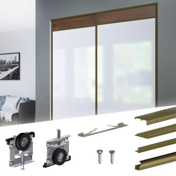 Content of our SLID'UP 230 - Sliding closet door hardware kit