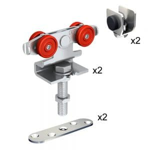 Quantity of items in our sliding door rollers kit for SLID'UP 2000 for 1 exterior door up to 130 lbs