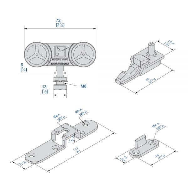 Drawing with dimensions of our sliding door roller kit for SLID'UP 2200